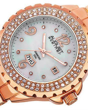 Load image into Gallery viewer, AUGUST Steiner AS8156RG Brand New Japan Quartz day date Watch with 0.04ctw of Precious Stones - crystal, diamond, and mother of pearl
