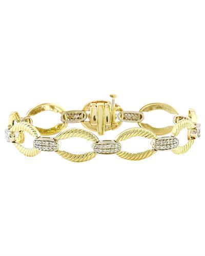 1.00 Carat Natural Diamond 14K Solid Two Tone Gold Bracelet