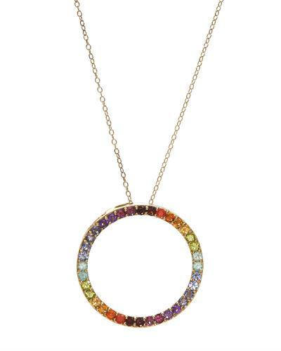 Brand New Necklace with 2.5ctw multi gems 14K/925 Yellow Gold plated Silver