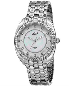 burgi BUR145SS Brand New Quartz Watch with 0.06ctw of Precious Stones - crystal, diamond, and mother of pearl