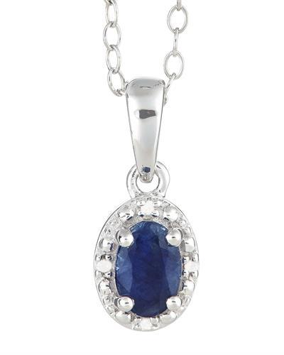 Brand New Necklace with 0.61ctw of Precious Stones - diamond and sapphire 925 Silver sterling silver