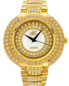 Adee Kaye AK9-30LG/CR Brand New Quartz Watch with 0ctw of Precious Stones - crystal and mother of pearl
