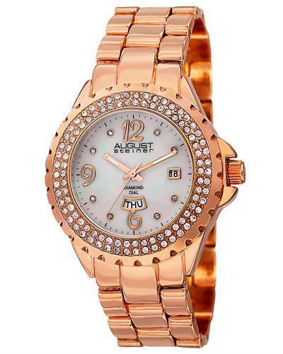 AUGUST Steiner AS8156RG Brand New Japan Quartz day date Watch with 0.04ctw of Precious Stones - crystal, diamond, and mother of pearl