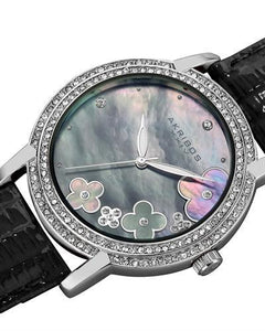 Akribos XXIV AK580BK Brand New Swiss Quartz Watch with 0.07ctw of Precious Stones - crystal, diamond, and mother of pearl
