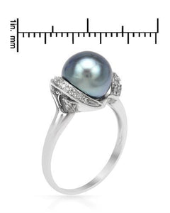 PEARL LUSTRE Brand New Ring with 0.08ctw of Precious Stones - diamond and pearl 14K White gold