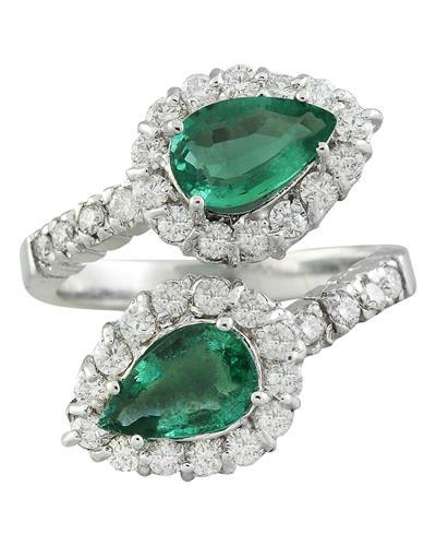 2.40 Carat Emerald 14K White Gold Diamond Ring