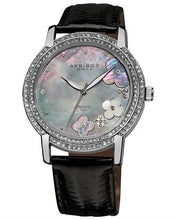 Load image into Gallery viewer, Akribos XXIV AK580BK Brand New Swiss Quartz Watch with 0.07ctw of Precious Stones - crystal, diamond, and mother of pearl