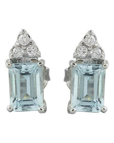 2.65 Carat Aquamarine 14K White Gold Diamond Earrings