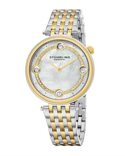STUHRLING ORIGINAL 716.02 Symphony Brand New Japan Quartz Watch with 0ctw of Precious Stones - crystal and mother of pearl