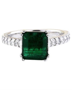 2.41 Carat Natural Emerald 14K Solid White Gold Diamond Ring