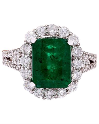 3.90 Carat Natural Emerald 14K Solid White Gold Diamond Ring