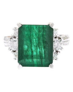 6.10 Carat Natural Emerald 14K Solid White Gold Diamond Ring