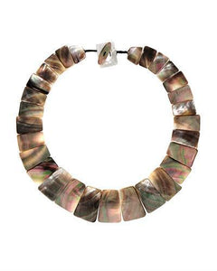 Brand New Necklace with 0ctw Abalone Shell  Black Silk