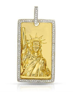 Brand New Pendant with 0.58ctw diamond 14K/925 Yellow Gold plated Silver