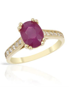 Brand New Ring with 2.15ctw of Precious Stones - diamond and ruby 14K Yellow gold
