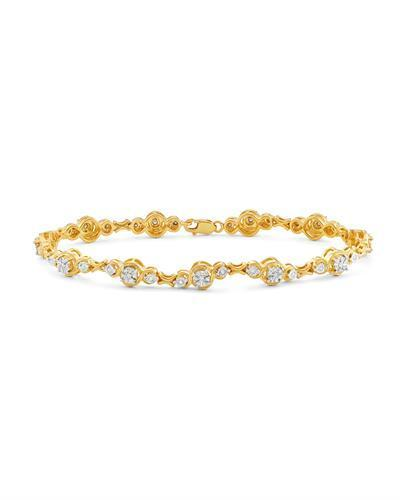 NEVADA SILVER Co Brand New Bracelet with 0.5ctw diamond 14K/925 Yellow Gold plated Silver