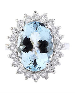 7.00 Carat Natural Aquamarine 14K Solid White Gold Diamond Ring