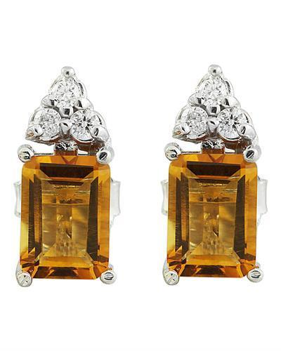 2.65 Carat Citrine 14k White Gold Diamond Earrings