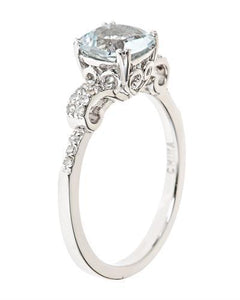 Brand New Ring with 1.37ctw of Precious Stones - aquamarine and diamond 925 Silver sterling silver