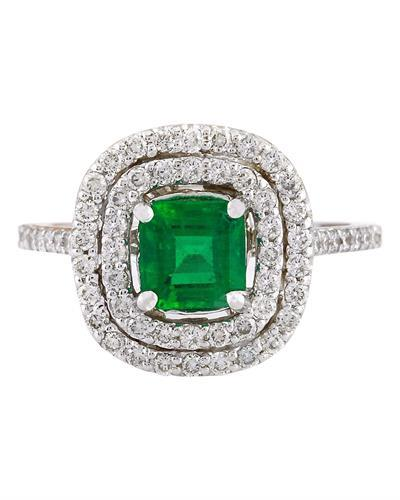 2.10 Carat Natural Emerald 14K Solid White Gold Diamond Ring