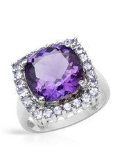 Load image into Gallery viewer, Brand New Ring with 6.41ctw of Precious Stones - amethyst and tanzanite 925 Silver sterling silver