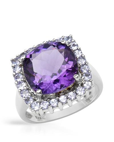 Brand New Ring with 6.41ctw of Precious Stones - amethyst and tanzanite 925 Silver sterling silver