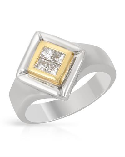 Brand New Ring with 0.3ctw diamond 18K Two tone gold