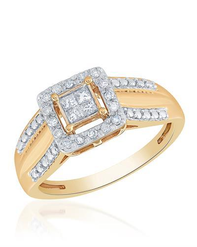 Brand New Ring with 0.15ctw of Precious Stones - diamond and diamond 10K Yellow gold