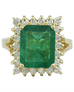5.16 Carat Emerald 14K Yellow Gold Diamond Ring