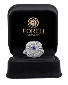 Brand New Ring with 1.85ctw of Precious Stones - diamond and sapphire 14K White gold