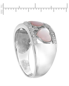Lundstrom Brand New Ring with 0.05ctw of Precious Stones - diamond and mother of pearl 14K White gold