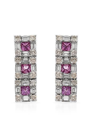 Brand New Earring with 3.43ctw of Precious Stones - diamond, diamond, and sapphire 14K White gold