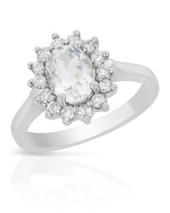Brand New Ring with 1.5ctw of Precious Stones - aquamarine and diamond 14K White gold