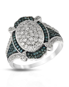 Brand New Ring with 0.76ctw of Precious Stones - diamond and diamond 14K White gold