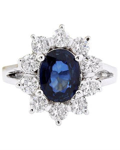2.38 Carat Natural Sapphire 14K Solid White Gold Diamond Ring