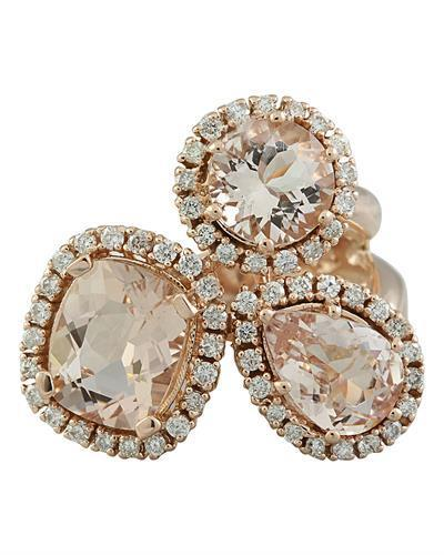 5.69 Carat Morganite 14K Rose Gold Diamond Ring