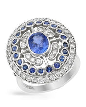 Load image into Gallery viewer, Brand New Ring with 3.65ctw of Precious Stones - diamond, sapphire, and sapphire 14K White gold