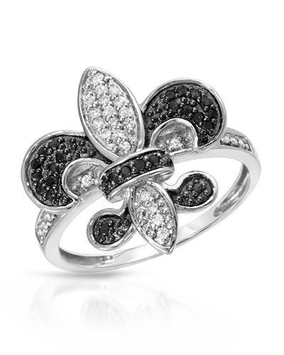 Lundstrom Brand New Ring with 0.33ctw of Precious Stones - diamond and diamond 10K White gold