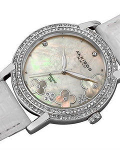 Akribos XXIV AK580SSW Brand New Swiss Quartz Watch with 0.07ctw of Precious Stones - crystal, diamond, and mother of pearl