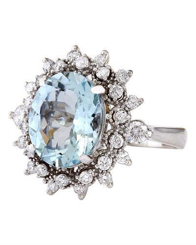 4.65 Carat Natural Aquamarine 14K Solid White Gold Diamond Ring
