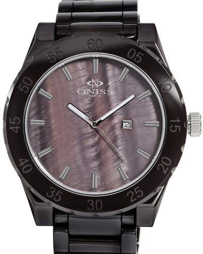 Oniss ON8174-M/BR Paris Brand New Swiss Quartz date Watch with 0ctw mother of pearl