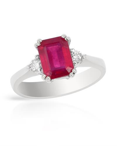 Brand New Ring with 2.21ctw of Precious Stones - diamond and ruby 14K White gold