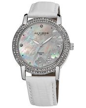 Load image into Gallery viewer, Akribos XXIV AK580SSW Brand New Swiss Quartz Watch with 0.07ctw of Precious Stones - crystal, diamond, and mother of pearl