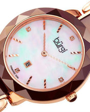 Load image into Gallery viewer, burgi BUR147BR Brand New Quartz date Watch with 0.02ctw of Precious Stones - diamond and mother of pearl