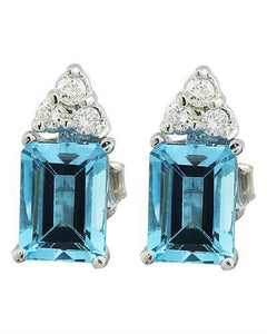 2.65 Carat Topaz 14K White Gold Diamond Earrings