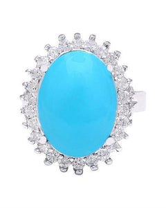 9.80 Carat Natural Turquoise 14K Solid White Gold Diamond Ring