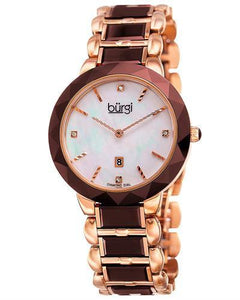 burgi BUR147BR Brand New Quartz date Watch with 0.02ctw of Precious Stones - diamond and mother of pearl