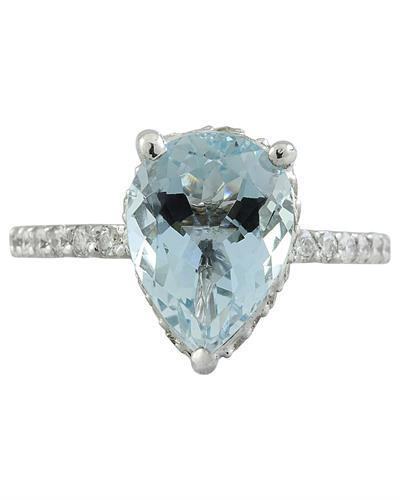 4.30 Carat Aquamarine 14K White Gold Diamond Ring