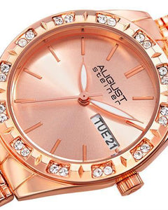 AUGUST Steiner AS8177RG Brand New Japan Quartz day date Watch with 0ctw crystal