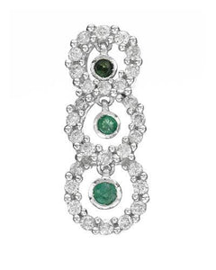 Brand New Pendant with 0.38ctw of Precious Stones - diamond and emerald 14K White gold